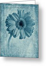 Cyanotype Gerbera Hybrida With Textures Greeting Card