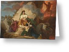 Cybele Opposing Vesuvius To Protect The Cities Of Stabia Greeting Card