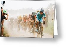 Cycling In The Dust Greeting Card