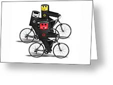 Cycling Recycle Bins Greeting Card