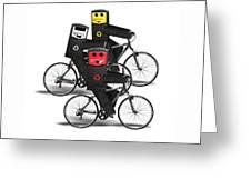 Cycling Recycle Bins Greeting Card