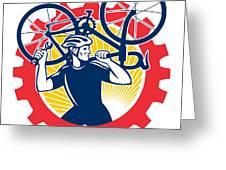 Cyclist Bicycle Mechanic Carrying Bike Sprocket Retro Greeting Card by Aloysius Patrimonio