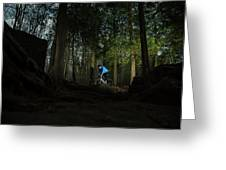 Cyclist In Mountain Forest Greeting Card