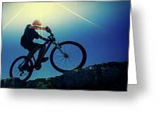 Cyclist On Bike Greeting Card