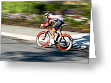 Cyclist Racing The Clock Greeting Card