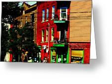 Cyclists Crossing Rue Clark Corner Wilensky Spring Street Scene Montreal Art Carole Spandau Greeting Card