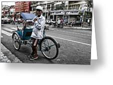 Cyclo Pousse Psar Thmei Greeting Card