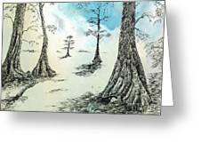 Cypress In Ink Greeting Card