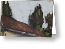 Cypress Tree And Roof Top Greeting Card