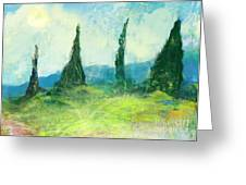 Cypress Trees On A Hill Side Greeting Card