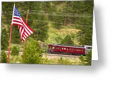 Cyrus K. Holliday Rail Car And Usa Flag Greeting Card
