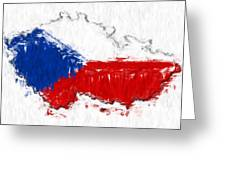 Czech Republic Painted Flag Map Greeting Card