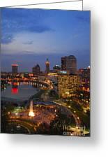 D101l Columbus Ohio Night Skyline Photo Greeting Card