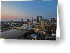 D2l448 Columbus Ohio Night Skyline Photo Greeting Card