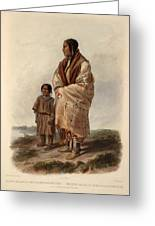 Dacota Woman And Assiniboin Girl Greeting Card