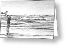 Dad And Son Beach Pencil Portrait Greeting Card