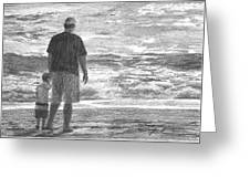 Dad And Son On Beach Pencil Portrait Greeting Card