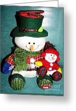 Daddy And Baby Snowmen Decorations Greeting Card