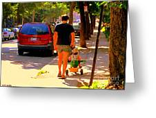 Daddy's Little Buddy Perfect Day Wagon Ride Montreal Neighborhood City Scene Art Carole Spandau Greeting Card