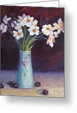 Daffodils And Cherries Greeting Card