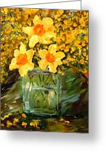 Daffodils And Forsythia Greeting Card by Barbara Pirkle