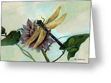 Dahlia With Dragonfly Resting Greeting Card