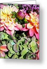 Dahlias And Hydrangeas Bouquet Greeting Card