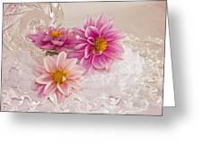 Dahlias And Lace Greeting Card