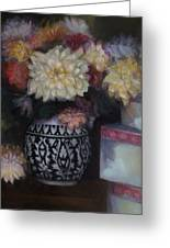 Dahlias Greeting Card by Susan Hanlon
