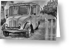 Dairy Truck - Old Rosenbergers Dairies - Black And White Greeting Card