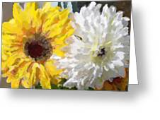 Daisies And Sunflowers - Impressionistic Greeting Card