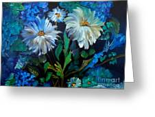 Daisies At Midnight Greeting Card