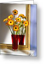Daisies In Red Vase Greeting Card
