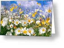 Daisies On A Hill - Impressionism Greeting Card