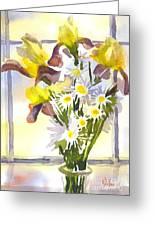 Daisies With Yellow Irises Greeting Card