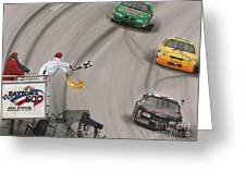 Dale Earnhardt Wins Daytona 500-checkered Flag Greeting Card