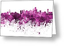 Dallas Skyline In Pink Watercolor On White Background Greeting Card