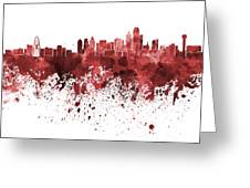 Dallas Skyline In Red Watercolor On White Background Greeting Card