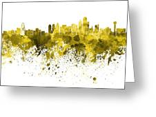 Dallas Skyline In Yellow Watercolor On White Background Greeting Card
