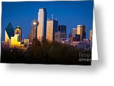 Dallas Skyline Greeting Card by Inge Johnsson