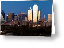 Dallas Skyline Sunset Greeting Card