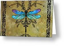 Damselfly Nouveau Greeting Card by Jenny Armitage