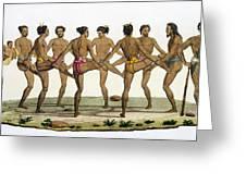 Dance Of The Caroline Islanders, Plate Greeting Card