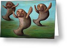 Dance Of The Manatees Edit 2 Greeting Card