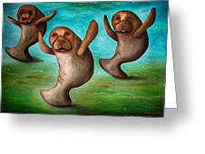 Dance Of The Manatees Edit 3 Greeting Card