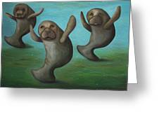 Dance Of The Manatees Greeting Card