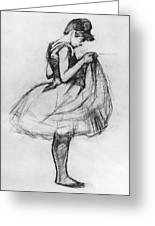 Dancer Adjusting Her Costume And Hitching Up Her Skirt Greeting Card by Henri de Toulouse-Lautrec