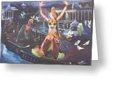 Dancer Laxmi Dancing On The Boat Greeting Card