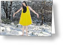 Dancer In The Snow Greeting Card