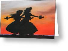 Dancers At Sunset Greeting Card